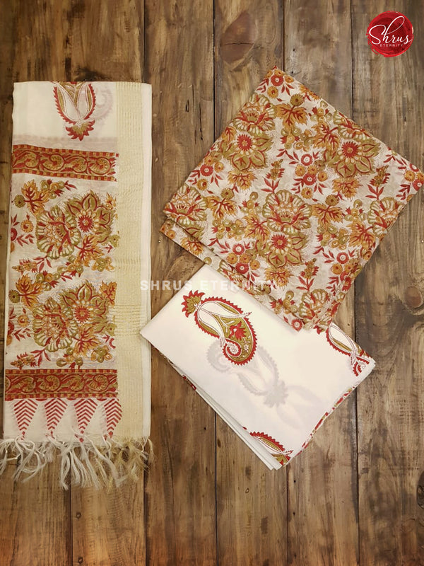 Red & White - Chanderi - Shop on ShrusEternity.com