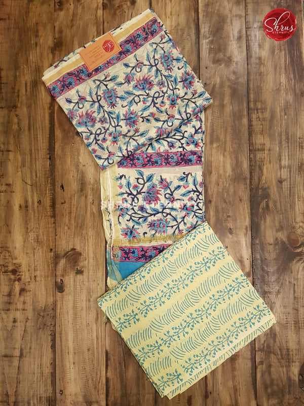 Cream & Blue - Chanderi - Shop on ShrusEternity.com