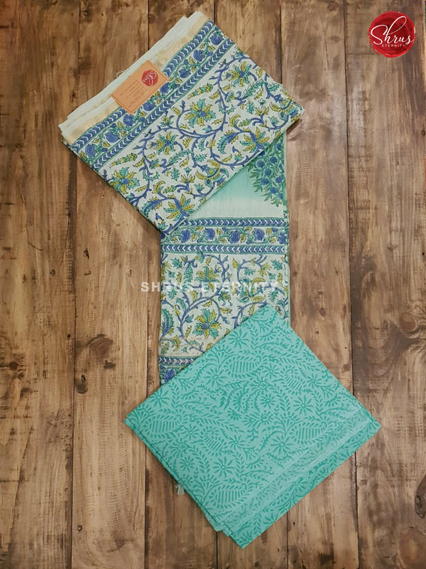 Sea Green & Blue - Chanderi - Shop on ShrusEternity.com