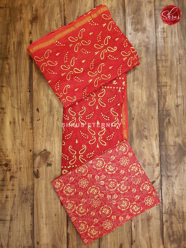 Red(Single Tone)  - Chanderi - Shop on ShrusEternity.com