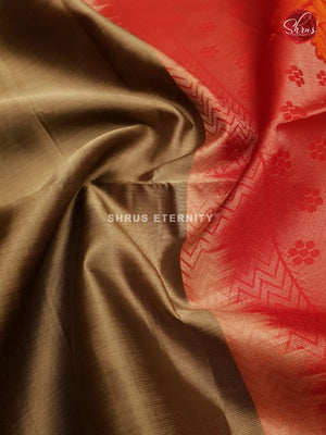 Golden Beige & Red -  Soft Silk