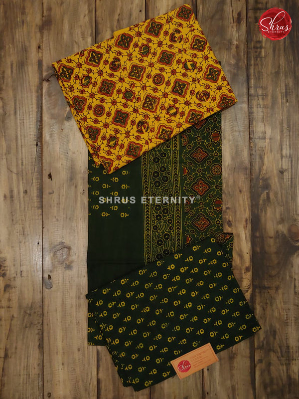 Yellow & Green - Ajrakh Block Print - Shop on ShrusEternity.com