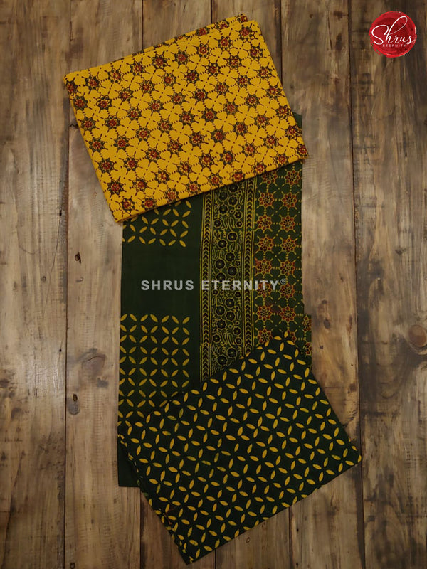 Mustard & Dark Green - Ajrakh Block Print - Shop on ShrusEternity.com