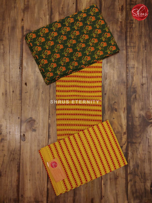 Green & Mustard - Ajrakh Block Print - Shop on ShrusEternity.com