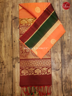 Orange & Maroon with Bottle Green - Soft Silk - Shop on ShrusEternity.com