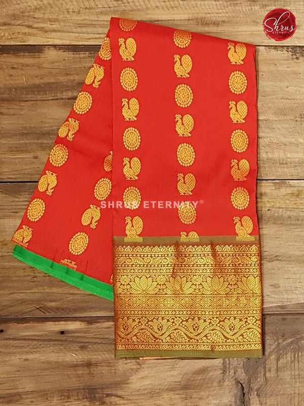Green & Red - Pattu Pavadai 0-2 Years - Shop on ShrusEternity.com