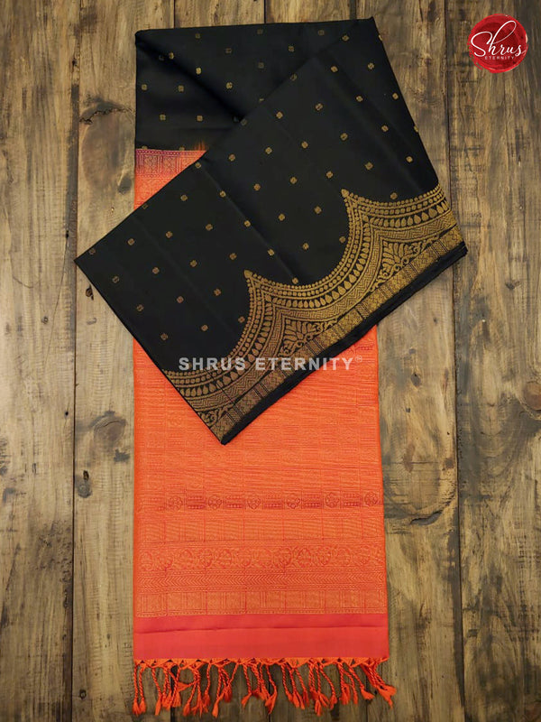 Black & Orangish Pink - Soft Silk