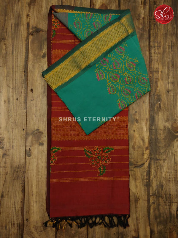 Teal Green & Maroon - Semi Silk - Shop on ShrusEternity.com