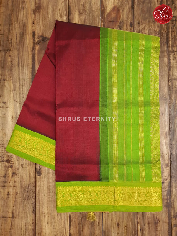 Maroon & Light Green - Silk Cotton