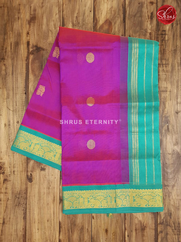 Purple & Sea Green - Silk Cotton