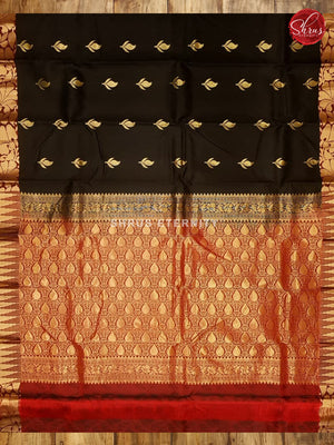 Black & Red  - Kanchipuram Silk - Shop on ShrusEternity.com
