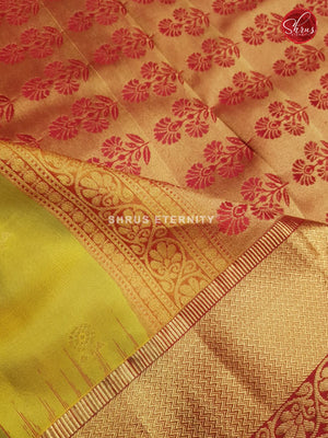 Yellow Green & Maroon - Kanchipuram Silk