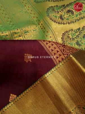 Brown & Light Green - Soft Silk