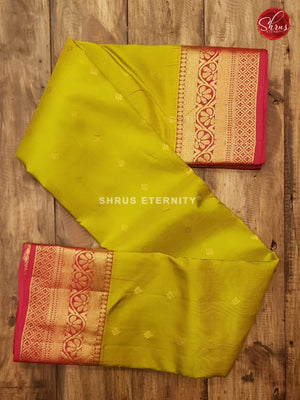 Lime Green & Red - Kanchipuram Silk