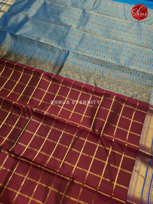 Dark Brown & Blue - Kanchipuram Silk