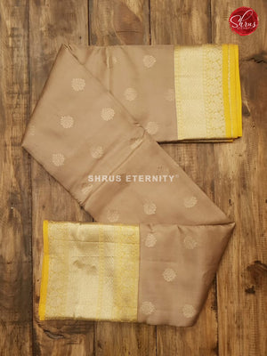 Tan & Lemon Yellow - kanchipuram Silk
