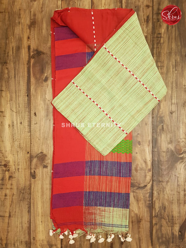Pista Green & Red - Bengal Cotton