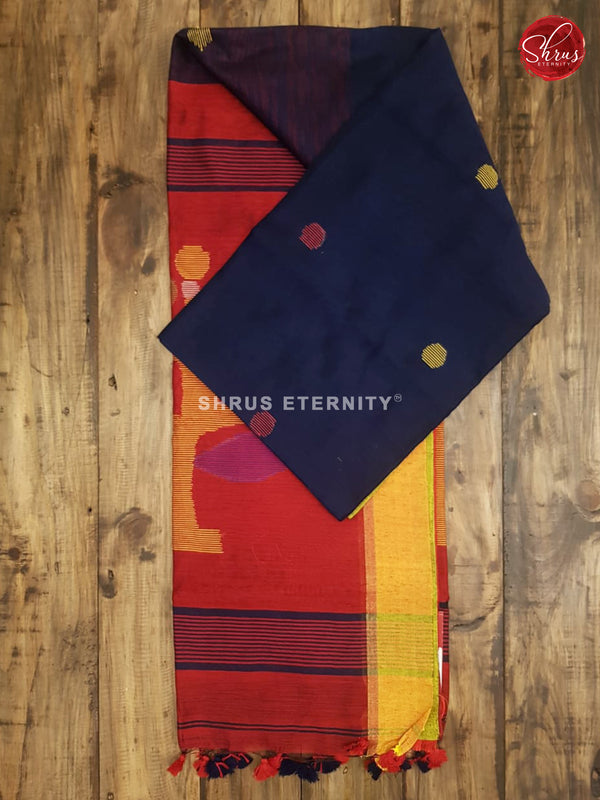 Dark Blue &  Red - Bengal Cotton