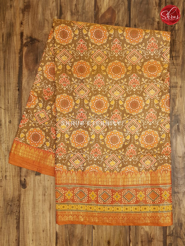 Mehndi Green & Orange  - Semi Patola - Shop on ShrusEternity.com