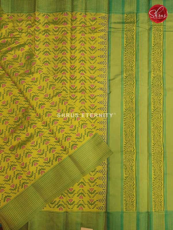 Yellow & Light Green - Cotton Silk