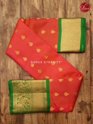 Vermillion Red & Leaf Green - Kanchipuram Silk