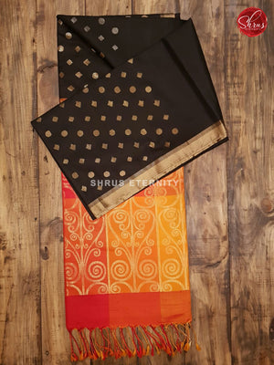 Black & Yellowish Orange - Soft Silk - Shop on ShrusEternity.com