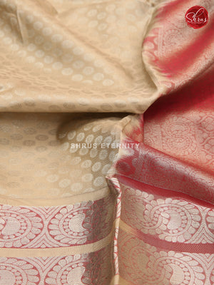 Creamy Beige & Brown - Kanchipuram Silk