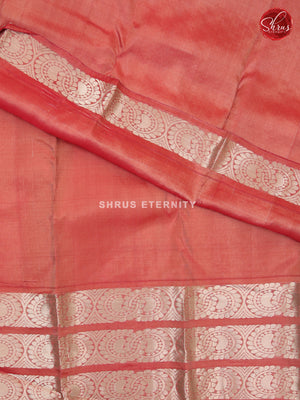 Peach & Dual Toned Pink - Kanchipuram Silk