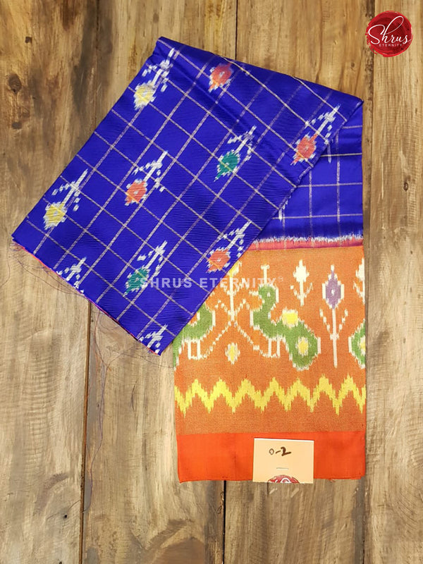 Red & Ink Blue - Ikkat Silk - 0 to 2 yrs - Shop on ShrusEternity.com