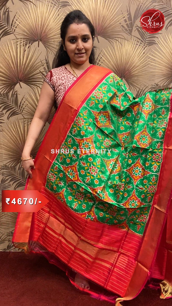 Light Green & Red - Ikkat Silk Dupatta - Shop on ShrusEternity.com