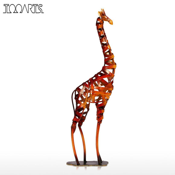 Tooarts New Brand Metal Figurine Iron braided Giraffe Vintage Home Decor Giraffe Handicrafts Home Decoration Accessories