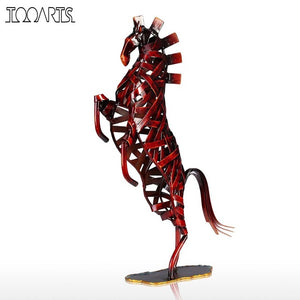 Tooarts Metal Red Weaving Horse Figurine Iron Miniature Figurine Home Decor Animal Craft Gift For Home Office
