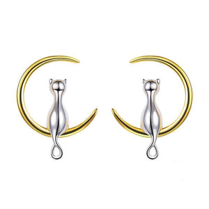 Midnight Cat  Silver Earings
