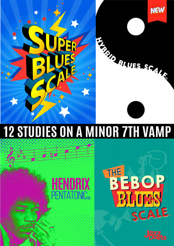 12 studies on a minor 7 vamp - digital PDF+ Mp3 backing track.