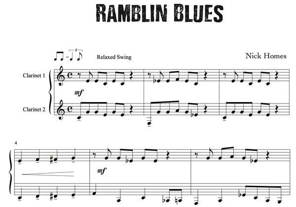 Easy Clarinet Jazz Duet - Ramblin