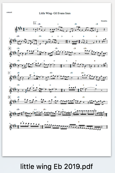 Little Wing/Gil Evans inspired Play Along/lead sheet