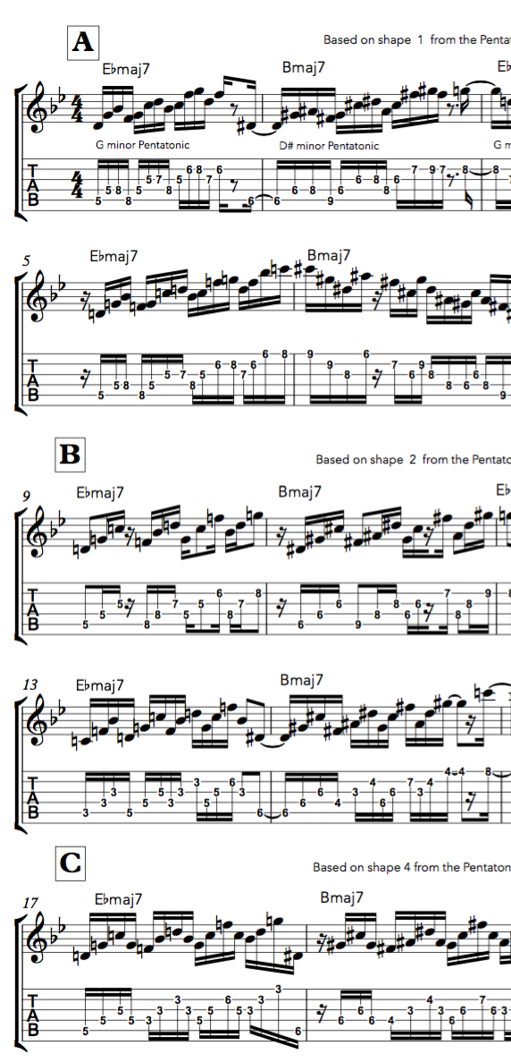 Superimposing  Lydian Pentatonic  shapes on Major7th chords - digital download