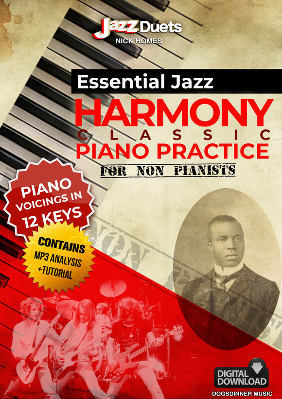 Essential Jazz  Harmony 12 key Piano practice PDF + podcast tutorial