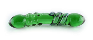 Green glass dildo with dots and dichroic wrap