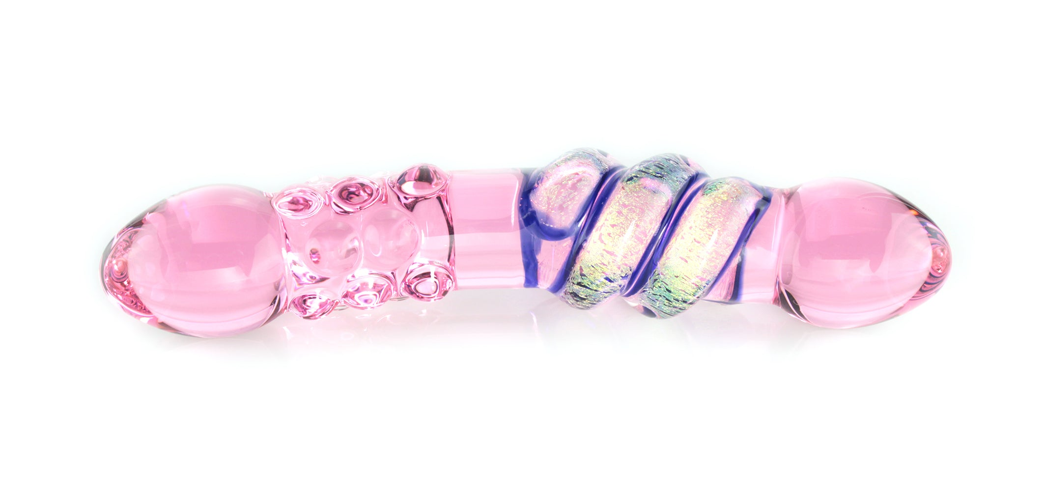 Pink glass dildo with dots and dichroic wrap