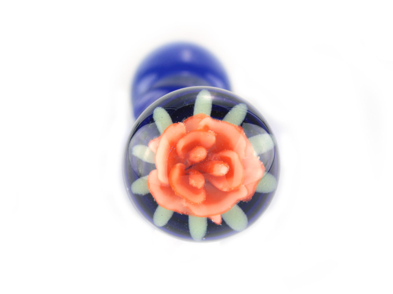 Blue glass dildo with spirals and orange glass flower