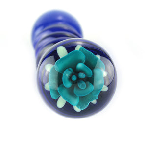 Blue glass dildo with spirals and turquoise glass flower