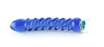 Blue glass dildo with spirals and blue glass flower