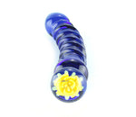 Blue glass dildo with spirals and yellow glass flower