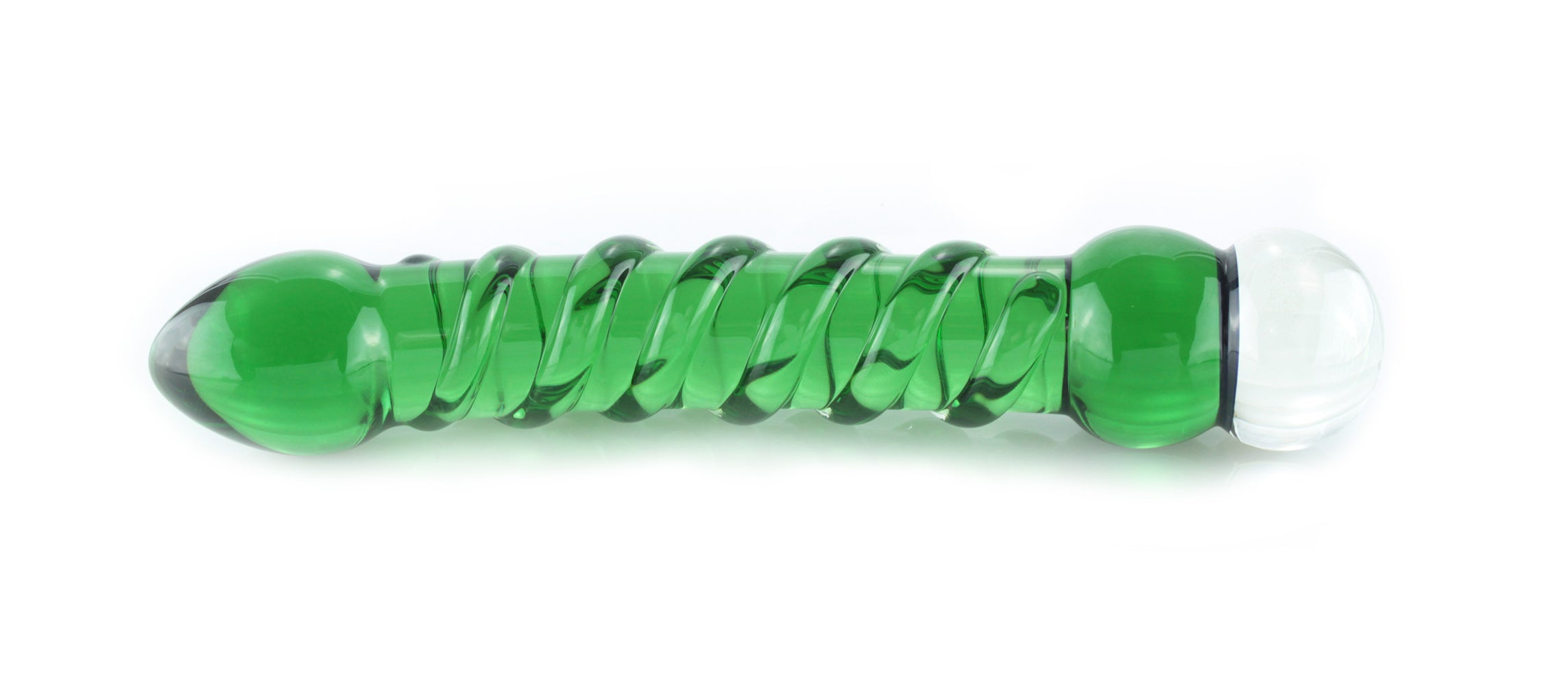 Green glass dildo with spirals and dichroic butterfly
