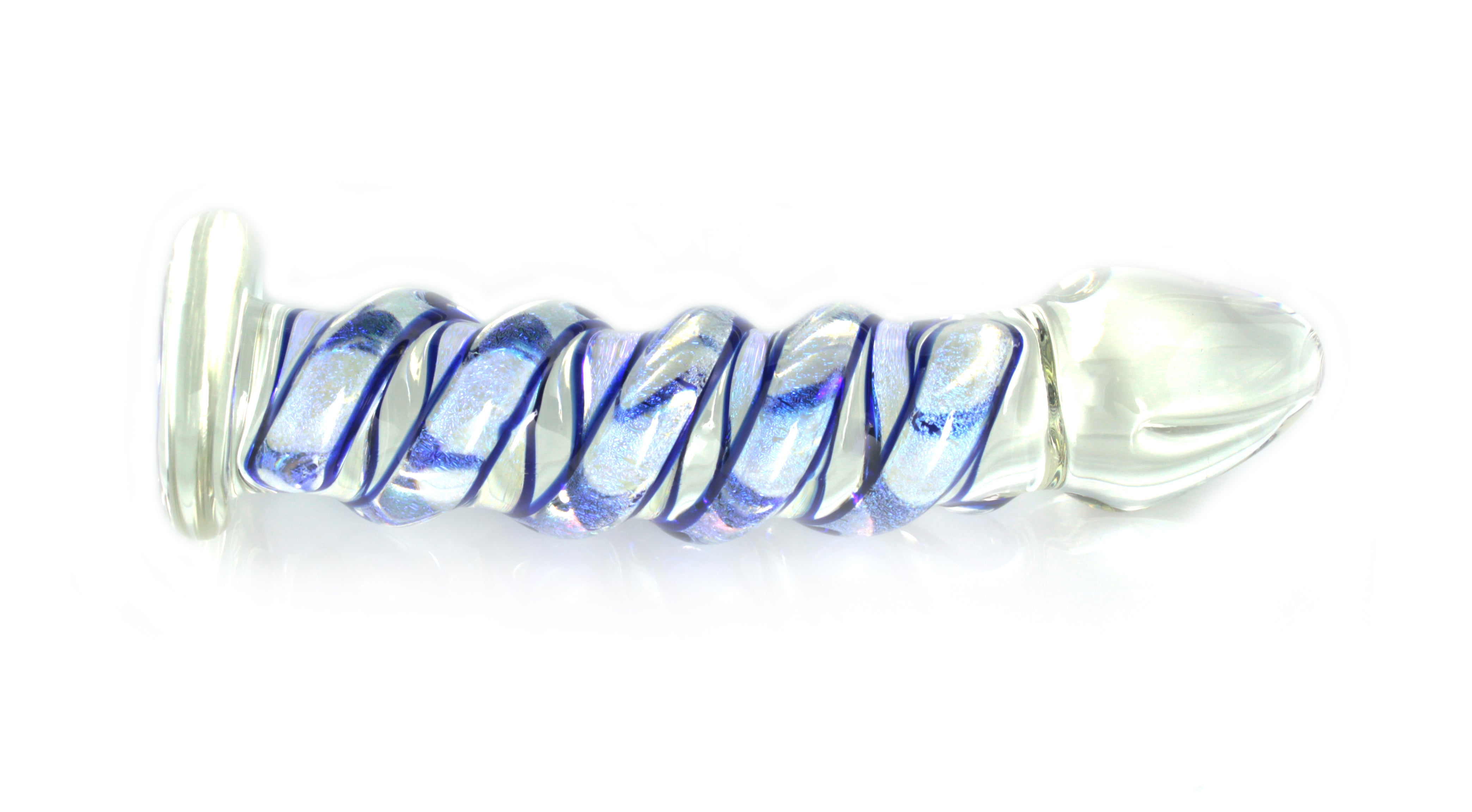 Clear glass dildo with a full blue and purple dichroic wrap