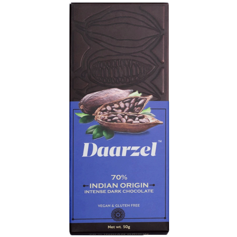 Daarzel 70% Intense Dark Chocolate Single Origin from India | Vegan & Gluten Free | 50 g
