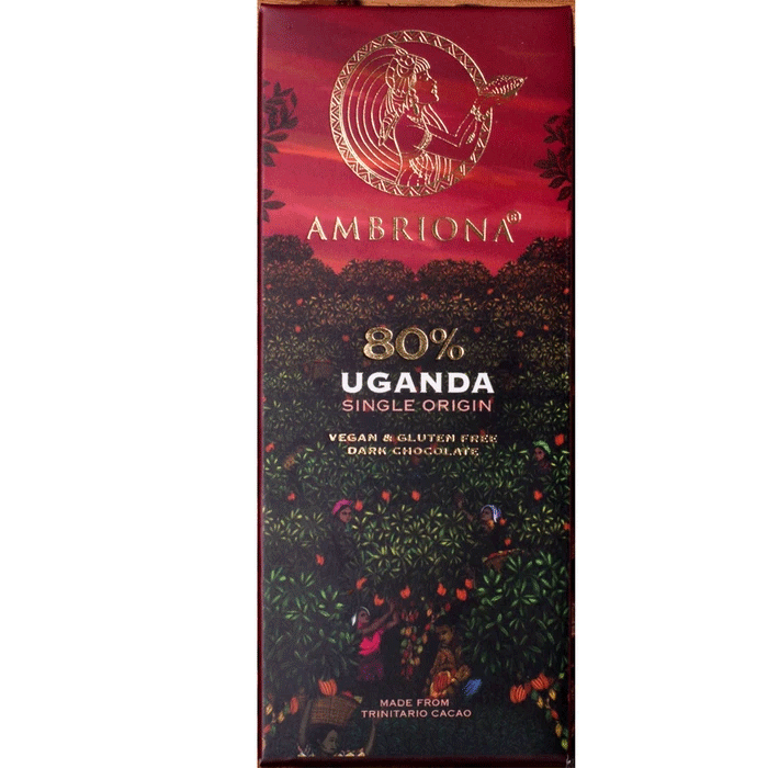 Ambriona  - 80% Single Origin Intense Dark Chocolate from Uganda | Vegan & Gluten Free | 50 g