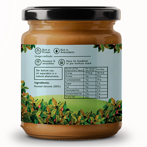 Ambriona - Almond Butter Unsweetened | All Natural | Vegan | Gluten Free | No Added Sugar | Vegan | Keto | High Protein | 200 g
