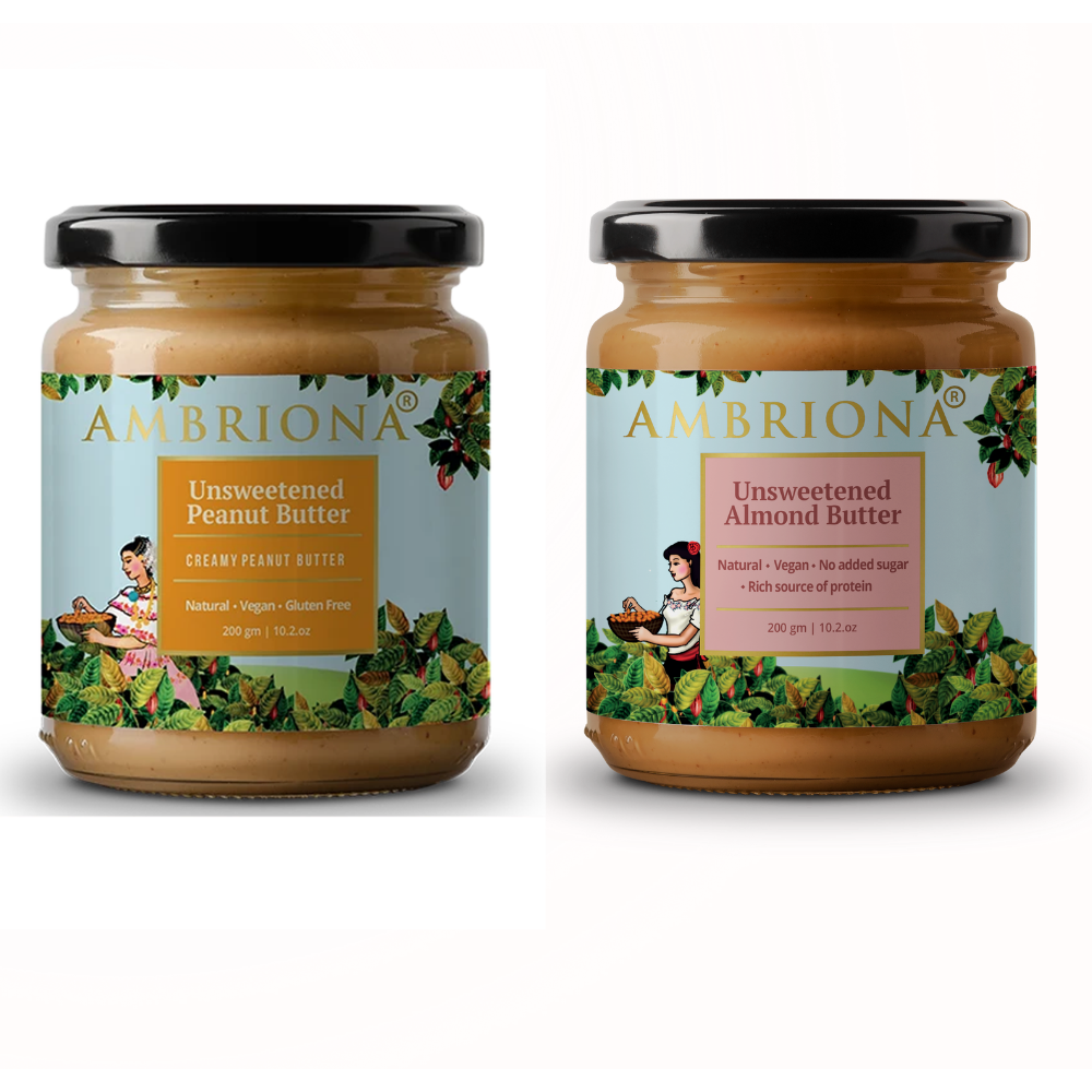 Combo of Creamy Peanut Butter & Creamy Almond Butter |  Keto Friendly | Vegan | Gluten Free | All Natural | No Added Sugar | Vegan | Keto | High Protein | 400 g